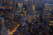 Aerial view over New York City at night — Stock Photo