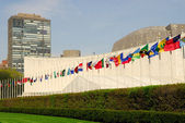Flags in front of the UN Headquarters in New York — Stock Photo