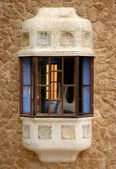 Window in the building designed by Antoni Gaudi, Barcelona Spain — Stock Photo