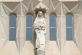 Window with statue at Sagrada Familia in Barcelona Spain — Stock Photo