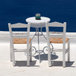 Chairs in Santorini, Greece — Stock Photo #6864447
