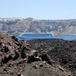 Stock Photo: View from volcanic island NeKameni to Santorini, Greece