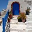 Blue door in Thira, Santorini Greece — Stock Photo
