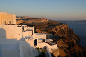 View over a house in Thira at sunset in Santorini, Greece — Stock Photo