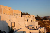 Houses in Santorini at sunset, Greece — Stock Photo