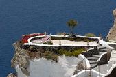 Terrace with view over the Caldera in Thira, Santorini Greece — Stock Photo