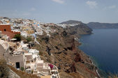 Aerial view over Oia, town on the island Santorini, Greece — Stock Photo
