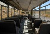 Wewnątrz opuszczonego autobusu — Zdjęcie stockowe