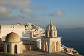 Thira on a cloudy day, Santorini, Greece — Stockfoto