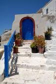 Blue door in Thira, Santorini Greece — Stock Photo