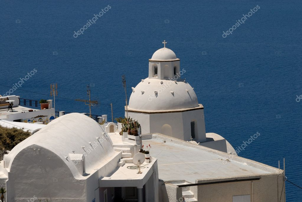 Church seaside in Santorini, Greece  Stock Photo #6864227