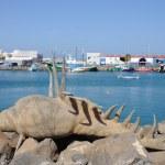 Shell sculpture in the harbor of Puerto del Rosario, Fuerteventura Spain — Stock Photo
