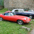 Vintage cars parked at medieval castle, Germany — Stok fotoğraf