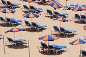 Sun Lounger on the beach. Canary Island Fuerteventura, Spain — Stock Photo
