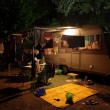 Caravan on a camping site in the evening — Stock Photo