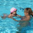 Mother with little daughter in the swimming pool - Stock Photo