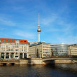 River Spree and Television Tower in Berlin Germany - Stock Photo