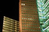 Futuristic Skyscrapers illuminated at Night — Stock Photo