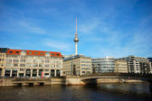 River Spree and Television Tower in Berlin Germany — Stock Photo