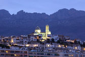 Mediterranean resort Altea illuminated at dusk, Spain — Photo