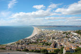 Famous Chesil beach near portland in Weymouth, Dorset, Southern England — Stock Photo