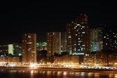 Nightshot of the Mediterranean resort Benidorm in Spain — Stock Photo