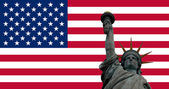 United States of America flag with Statue of Liberty — Stock Photo