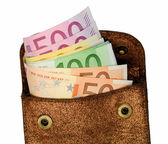 Golden wallet with euro notes — Stockfoto
