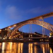 Dom Luis I Bridge illuminated at night. Oporto, Portugal — Stock Photo