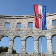 Ancient Roman Amphitheater in Pula, Croatia - Stock Photo