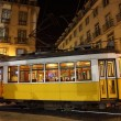 Old tram in the city of Lisbon at night — Stock Photo #7577002