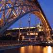 Stock Photo: Dom Luis I bridge illuminated at night. Porto, Portugal