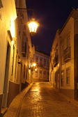 Street at night in the old town of Faro, Portugal — Stock Photo