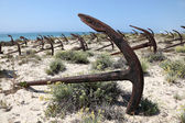 Anchors on the beach in Tavira, Algarve Portugal — Stock Photo