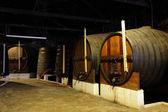 Barris de madeira na antiga adega — Foto Stock