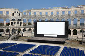 Open Air Cinema in the ancient Roman amphitheater — Stock Photo