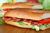 Closeup of a fresh sandwich with salami, swiss and tomatoes — Stock Photo