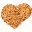 Heart shaped wholemeal bun — Stock Photo
