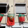 Stock Photo: Portuguese Flags at house in Lisbon, Portugal