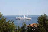 Modern sailing ship in the Adriatic Sea, Croatia — Stock Photo