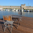 Stock Photo: Roof terrace at house boat in Aigues-Mortes, France