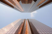 Golden skyscrapers in Dubai city — Stock Photo