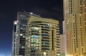 Buildings at Dubai Marina at night, United Arab Emirates — Stock Photo