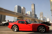 Red Sports Car in Dubai, United Arab Emirates — Stock Photo