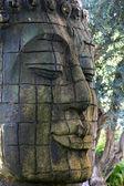 Estátua de buda retrato permanente ao ar livre — Fotografia Stock
