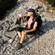 Foto Stock: Thirsty hiker