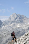 Hiker in the Wetterstein Mountains, Alps Germany — Stock Photo