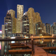 Stock Photo: Dubai Marina Luxury Residence at night. Dubai, United Arab Emirates