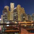 Dubai Marina Luxury Residence at night. Dubai, United Arab Emirates — Stock Photo