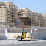 Välkommen till palm jumeirah tecken, dubai Förenade Arabemiraten — Stockfoto